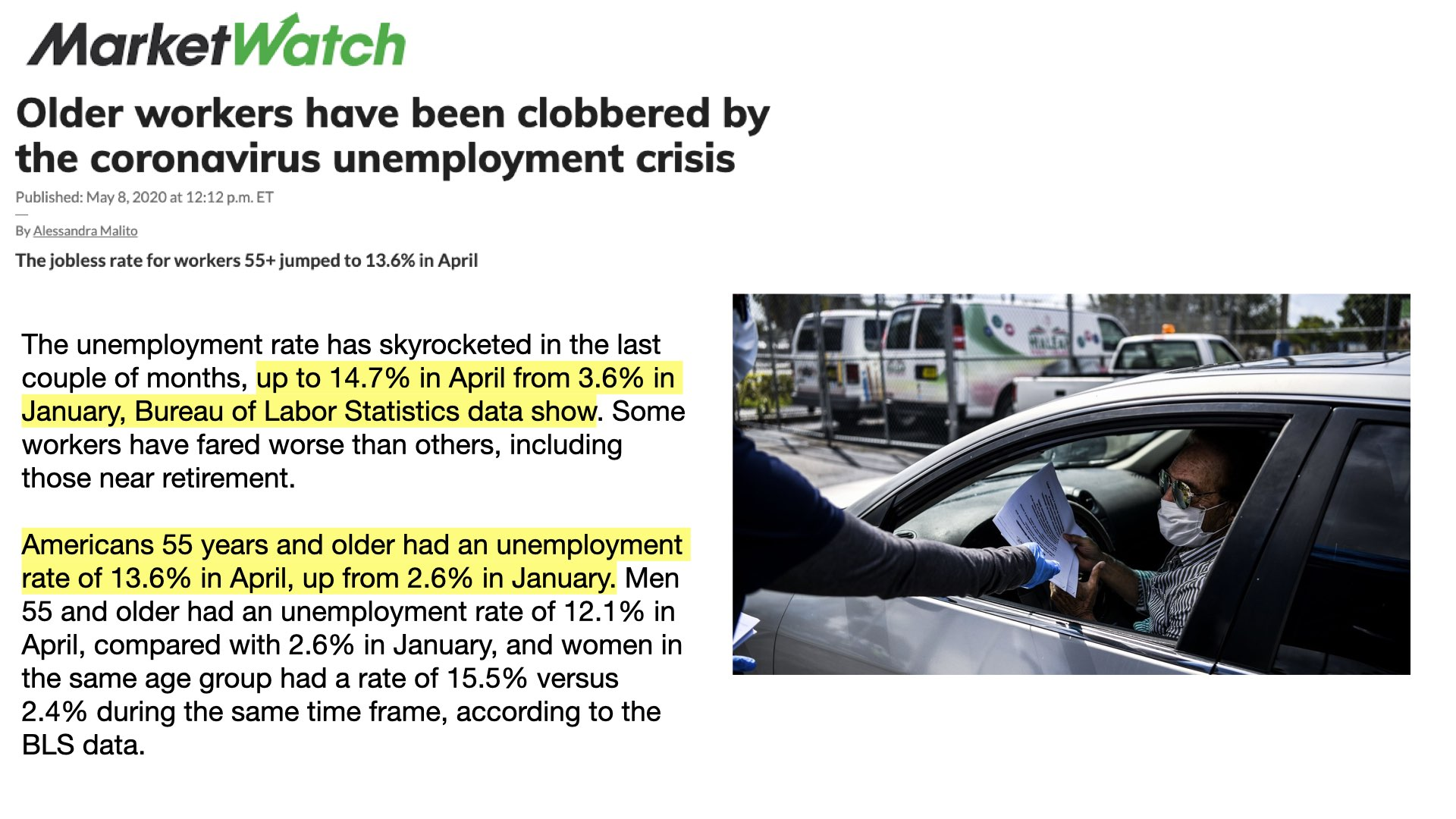 MarketWatch noted Americans 55 and older have been clobbered by the coronavirus' economic fallout. In January of this year MarketWatch notes the unemployment rate for those 55 and older was 2.6%. By April that unemployment number jumped to 13.6%.